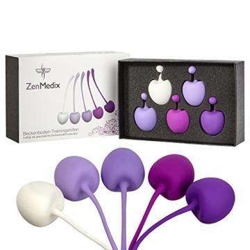 ZenMedix Premium Beckenboden-Trainer mit 5 Kugeln | Beckenbodentrainings-Hilfen aus medizinischem Silikon | Set aus 5 Kegeln mit Beutel ideal für Frauen nach der Schwangerschaft sowie in den Wechseljahren - 3
