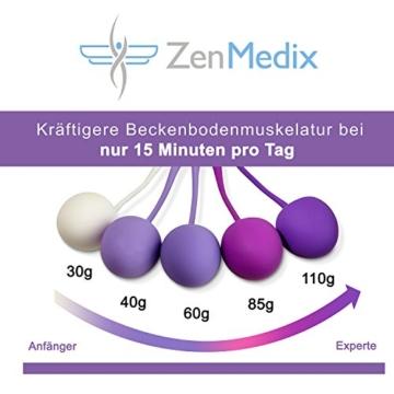 ZenMedix Premium Beckenboden-Trainer mit 5 Kugeln | Beckenbodentrainings-Hilfen aus medizinischem Silikon | Set aus 5 Kegeln mit Beutel ideal für Frauen nach der Schwangerschaft sowie in den Wechseljahren - 7